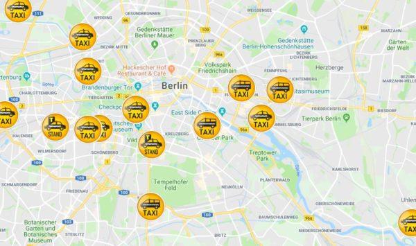 Taxis auf Google Map finden
